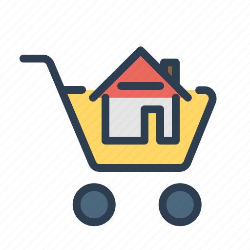 apartment, buy house, home sale, property, purchase, real estate, shopping card icon
