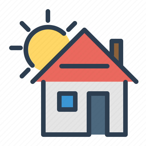 apartment, home loan, house, property, real estate, sun icon