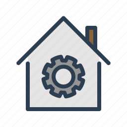 apartment, gear, house, options, property, real estate, settings icon