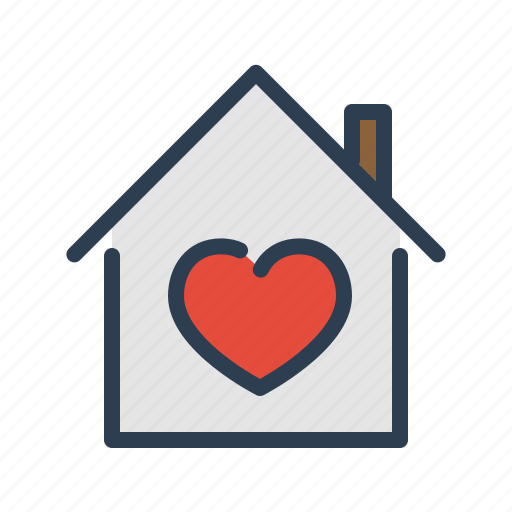 favourite, heart, home, house icon
