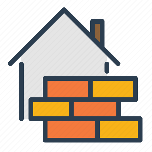 block, brick, contruction, home, house, real estate, wall icon