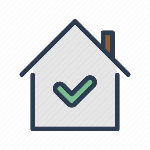 approved, check, checkmark, home, house, property, real estate icon