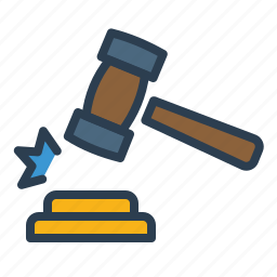 gavel, hammer, justice, law, legal, mortgage, real estate icon