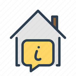 building, details, house, information, message bubble, property, real estate icon