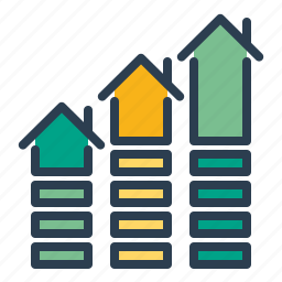 apartment sales, growth, home loan, house, price market, real estate, statistics icon