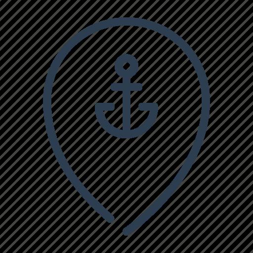 location, map, pin, pointer, port, river, sea icon