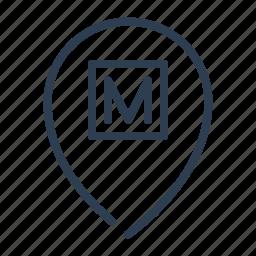 location, map, metro, pin, pointer, subway, transport icon