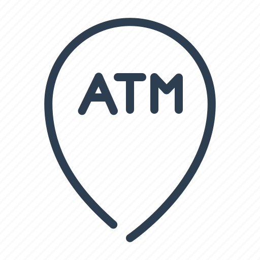 atm, bank, cashout, location, map, pin, pointer icon