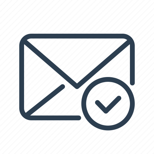 checkmark, done, email, envelope, letter, mail, message icon