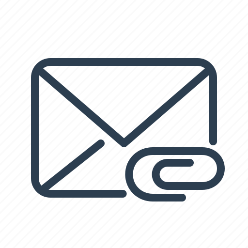 attachment, email, envelope, fastener, letter, mail, message icon