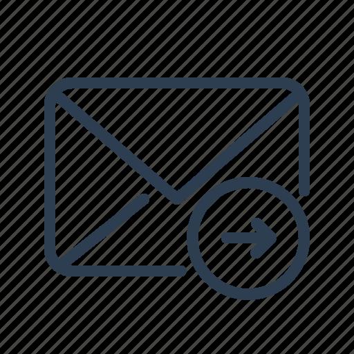 arrow left, email, envelope, letter, mail, message, send icon