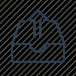 archieve, arrow up, drawer, folder, mail, mailbox, send icon