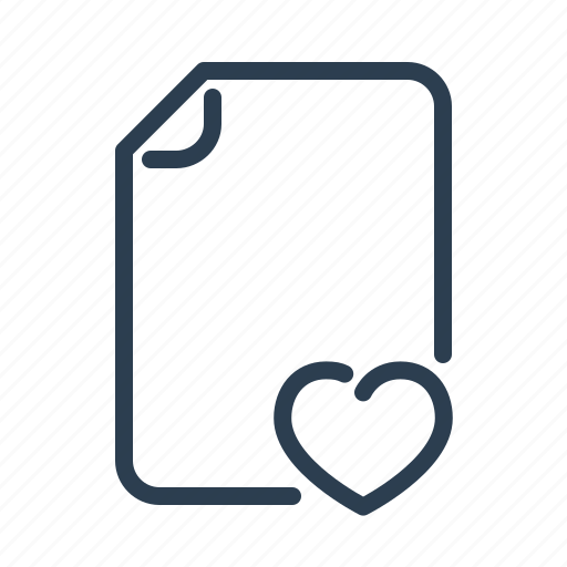 bookmark, document, favourite, file, format, heart, page icon