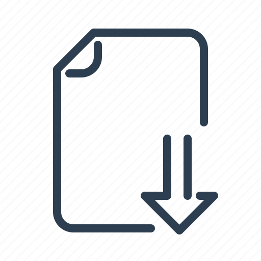 arrow down, document, download, file, page, share, upload icon