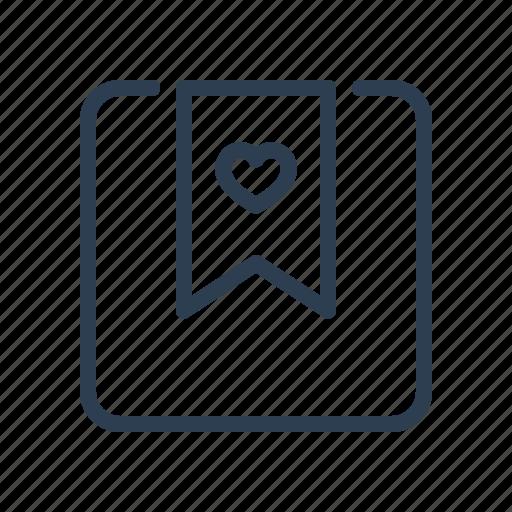 book, bookmark, favourite, heart, mark, marker, ribbon icon