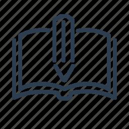 book, education, knowledge, open, pencil, study, write icon