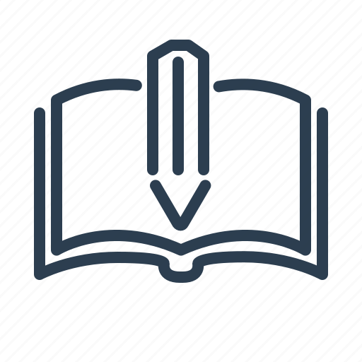 book, education, knowledge, open, pencil, study, write icon