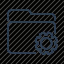 documents, files, folder, gear, options, settings, storage icon