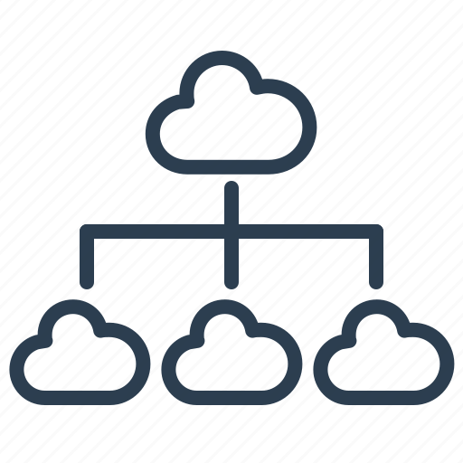 cloud, data storage, hierarchy, scheme, share, sharing, structure icon