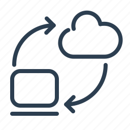 arrow, cloud computing, data storage, laptop, share, sharing, upload icon