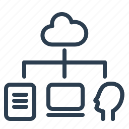 cloud, computing, data storage, file, laptop, share, sharing icon