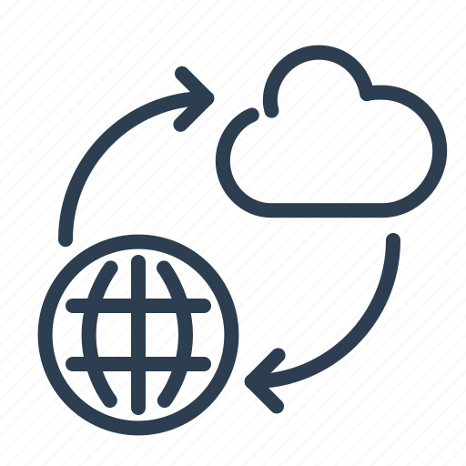 arrows, cloud computing, connection, data storage, network, share, sharing icon