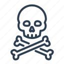 bones, crossbone, danger, pirate, poison, skeleton, skull icon