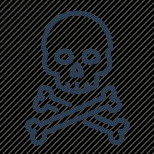 bones, crossbone, danger, pirate, poison, skeleton, skull icon