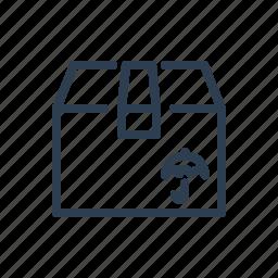 box, bundle, crate, delivery, shipment, shipping, umbrella icon