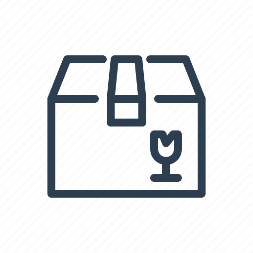 box, careful, fragile, glass, package, shipment, shipping icon