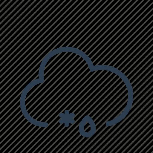 cloud, forecast, precipitation, rain, snow, snowflake, weather icon