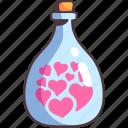 bottle, love, heart, glass, red, romance, present