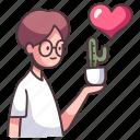cactus, love, man, plant, garden, hobby, flower