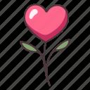 flower, stalk, floral, beautiful, decorative, heart, leaf