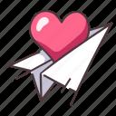 letter, mail, message, paper, love, heart, rocket