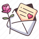 love, envelope, mail, romantic, message, gift, rose