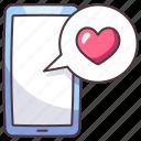 smartphone, love, phone, mobile, message, app, heart