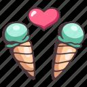 sweet, icecream, heart, dessert, love, summer, valentine