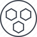 abstract, creative, design, hexagon, three icon