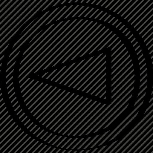 arrow, cone, left icon
