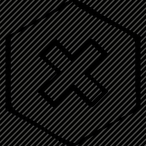 creative, cross, hexagon icon