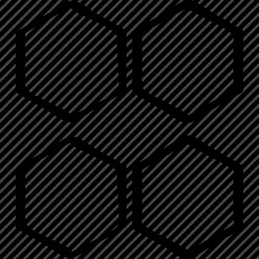 creative, four, hexagons icon