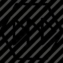 arrow, hex, point icon