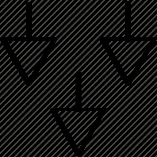 arrows, creative, three icon