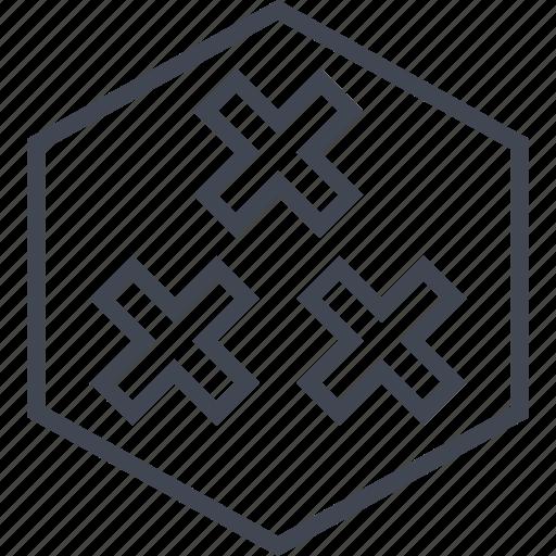 abstract, crosses, design, three, x icon