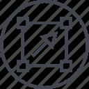 abstract, arrow, click, creative, design, dot, shape icon