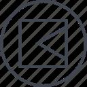 abstract, arrow, creative, design, left, pint, shape icon