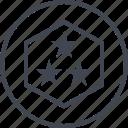 abstract, creative, design, hexagon, shape, stars, three icon