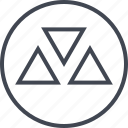 abstract, creative, design, shape, three, triangles icon