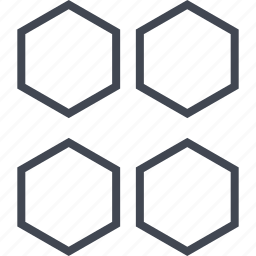 abstract, assorted, four, hexagons icon